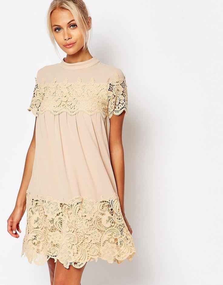 Fashion Union | Fashion Union - Vestito grembiule con inserti in pizzo su ASOS