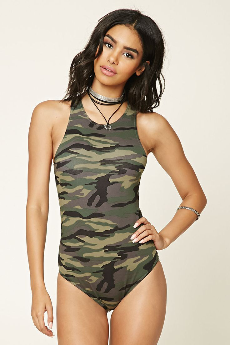 A sleeveless knit bodysuit featuring a camo print, round neckline, and a snap-button closure.