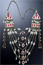 Distinctive Pomegranate-Pink Beads on this elegant multi-strand Chanda Haar Vintage Swati Tribal Necklace.