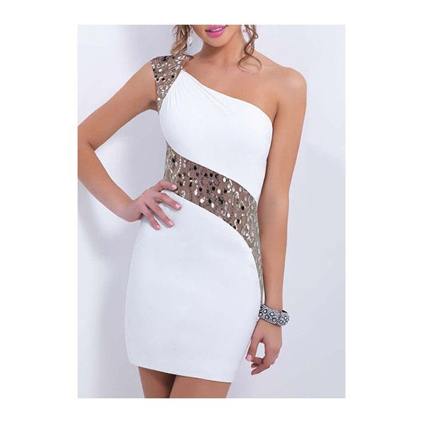 Sequin Decorated One Shoulder Bodycon Mini Dress (65 BRL) ❤ liked on Polyvore featuring dresses, white, white one shoulder dress, one-sleeve dress, short sleeve dress, short white dresses and white cocktail dresses