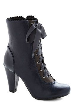 Good for a Victorian look!  Flair-y Tale Boot in Midnight Blue, #ModCloth