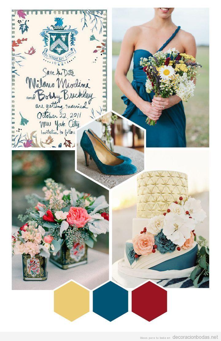Ideas para decorar bodas vintage con colores ocre azul y - Cual es el color ocre ...