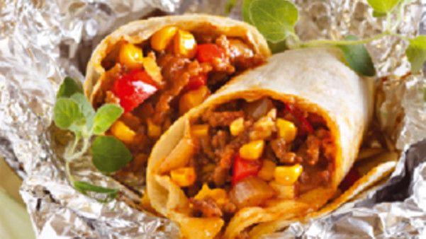 Grillwraps med kjøttdeig og mais