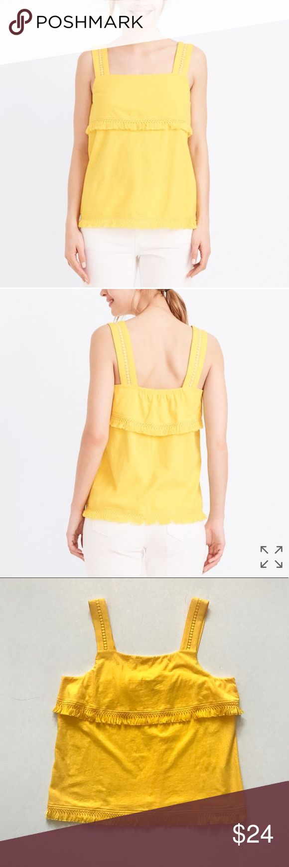 "NWT J. Crew Yellow Fringe Tank Top NWT J. Crew Yellow Fringe Tank Top J. Crew cotton tank with fringe detail. Loose fit. Color is ""warm sun."" Size XL. Approx measurements lying flat: 20.5"" bust, 26.5"" length. New with tags. No trades. Reasonable offers welcome J. Crew Tops Tank Tops"