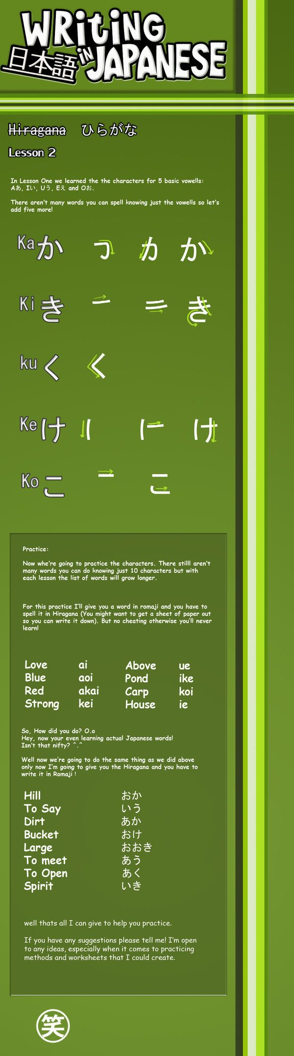 Writing Japanese- Lesson 2 by emm2341