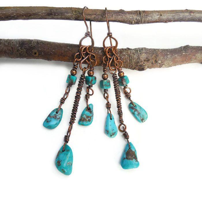 Boho chandelier earrings with Turquoise  http://kissedbyclover.com/collections/bohemian-earrings/products/long-turquoise-earrings-tribal-turquoise-earrings-gypsy-earrings-long-boho-earrings-boho-jewelry-bohemian-earrings-mystical-jewelry  #boho #earrings #wirewrap