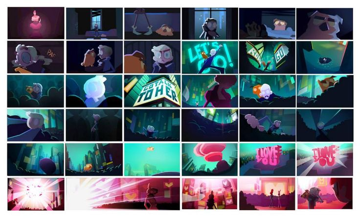 colour script  //  CATSUKA - concept artwork from Annie, a Gobelins Student short film. Directed by Lea Justum, Chloe Nicolay, Laura Pannetier, Taylor Price and Xavier Sailliol. youtu.be/hv2x1FdWPK4