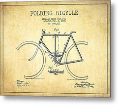 Vintage Folding Bicycle Patent From 1898 - Vintage Metal Print by Aged Pixel