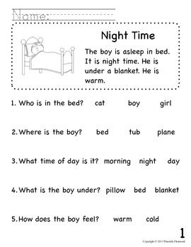 Worksheets Early Reading Worksheets 65 best images about reading comprehension on pinterest beginning readers packet for early education or special teacherspayteachers com