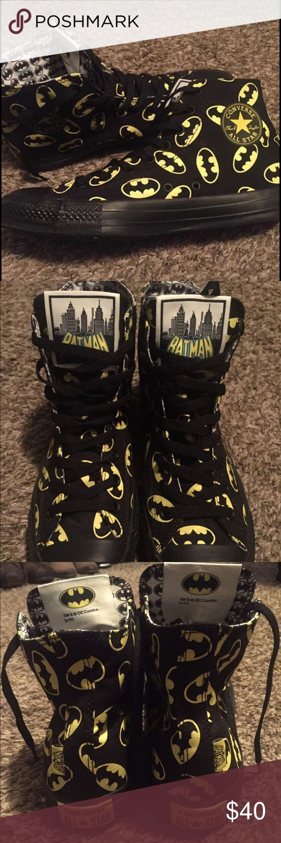 🆕 Unisex Batman converse 💛🖤 Unisex Batman converse. BRAND NEW, NEVER WORN. High tops. Bought for a batgirl costume and ended up going as something else. • Men's 9 •women's 11 Converse Shoes