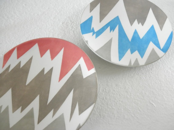Modern Chevron Hand Painted Ceramic Plate Set & 68 best Plates and Dishes images on Pinterest | Ceramic painting ...