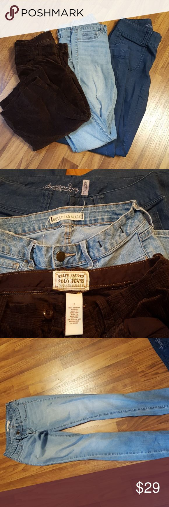 Bundle American Rag , Polo Jeans and Bullhead Blac American Rag Trouser size 1R Like New! Bullhead Black Jegging Size 3 but fit like size 2 good condition Ralph Lauren Polo jeans cropped brown valvet  size 2 like New! They all fit size 2 American Rag Jeans Flare & Wide Leg
