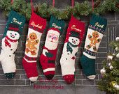 Set of 5 Knitted Christmas Stocking /  Mary Maxim Designs /Hand Knitted
