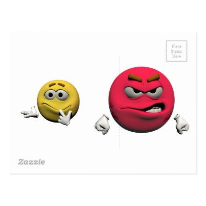 Yellow and red angry emoticon or smiley postcard - postcard post card postcards unique diy cyo customize personalize