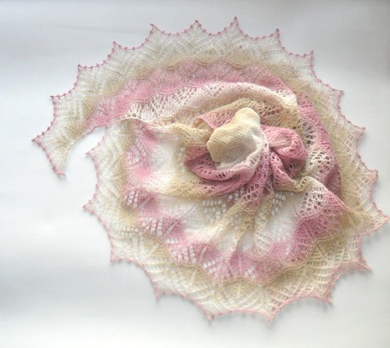 Wool Shawl Pink Beige and Ecru Shawl Hand Knit by aboutCRAFTS