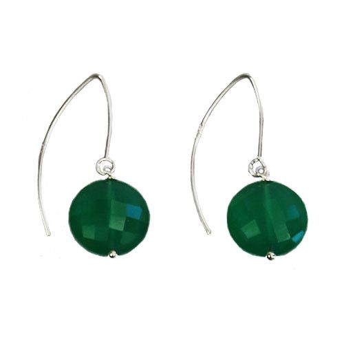 Faceted flat round Green Onyx earrings by Coeval for sale on http://hellopretty.co.za