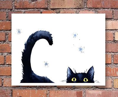 Details about Sneaky Black Cat Art Print Watercolor Painting – Aquarell Ideen