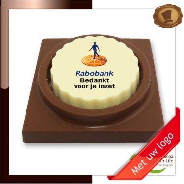 Logo Choco De Luxe  Bedankt voor je inzet. Lekkere chocolade voorzien van een logo  # chocolade met logo # relatie geschenken # promotie chocolade