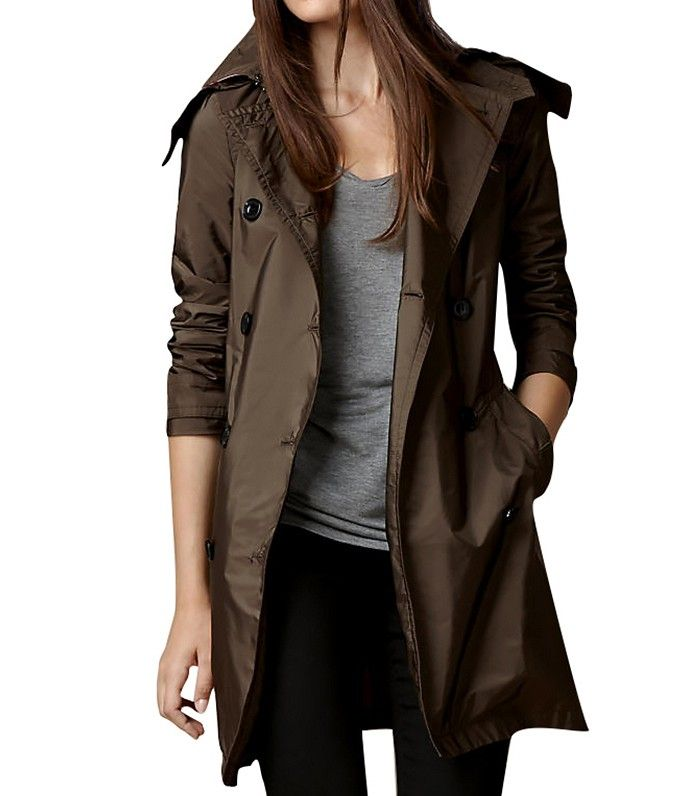 Burberry Lightweight Trench Coat with Detachable Hood // Brown trench coat with a hood
