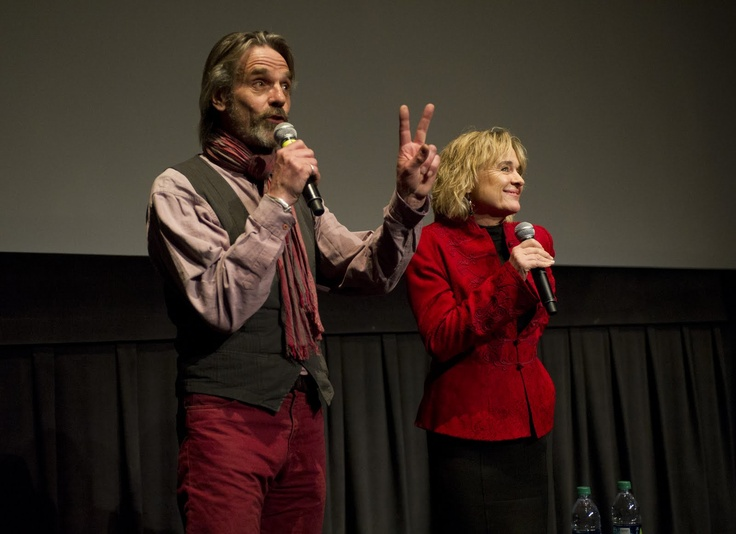 "Jeremy Irons and Sinead Cusack at BAM, introducing their film ""Stealing Beauty""."