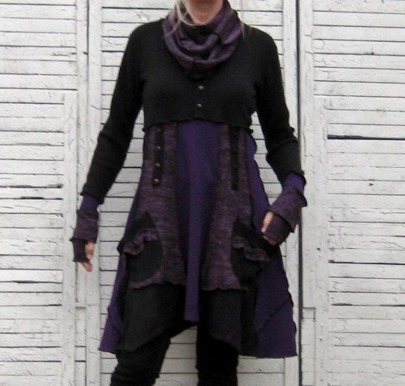 Baby-Doll Tunic, Upcycled clothing, Recycled Sweaters, Size Medium