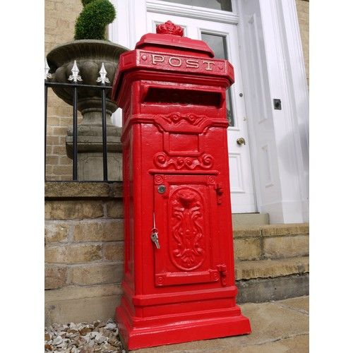 Victorian Style Royal Red Large Cast Iron Pillar Mailbox/Postbox via Elderflower Lane. Click on the image to see more!