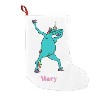Funny Unicorn Dabbing Dance Small Christmas Stocking - christmas stockings merry xmas cyo family gifts presents