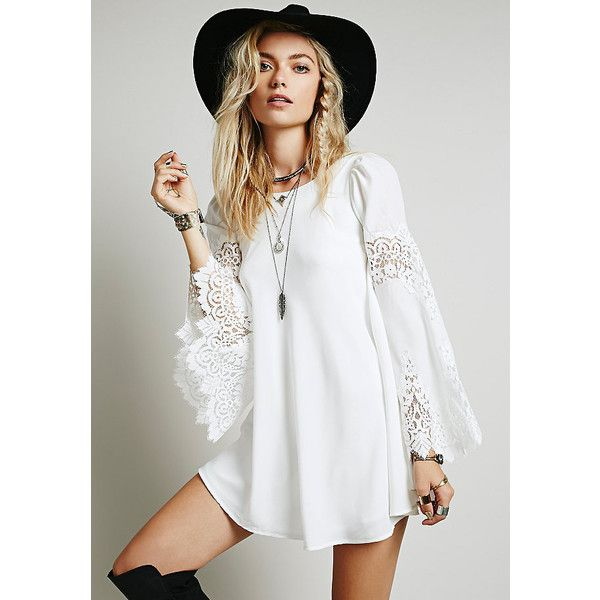 SheIn(sheinside) White Long Sleeve With Lace Dress (13 CAD) ❤ liked on Polyvore featuring dresses, white, short dresses, shift dresses, long-sleeve shift dresses, short sleeve dress and white long-sleeve dresses