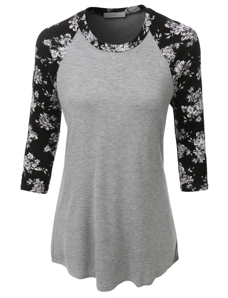 LE3NO Womens Ultrasoft 3/4 Sleeve Floral Graphic Baseball Tee