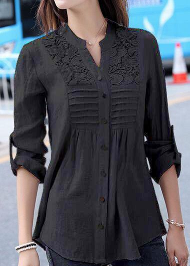 Black Split Neck Lace Patchwork Blouse, new arrival, free shipping worldwide at rosewe.com.