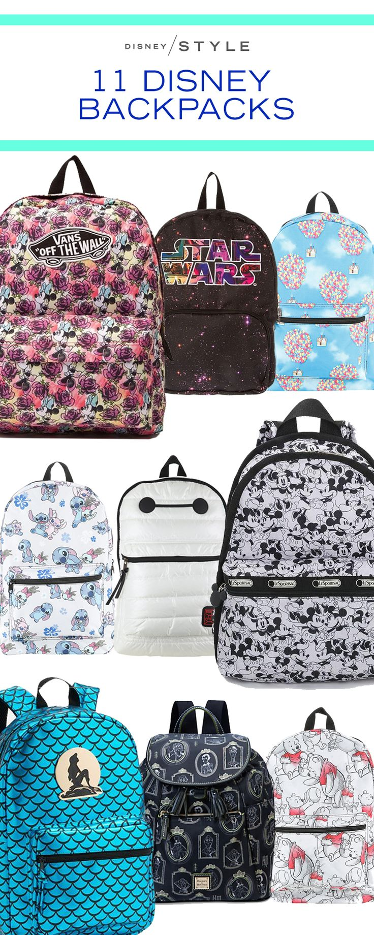 11 Disney backpacks that are perfect to wear to Disney Parks, school, work or as a fashion accessory. | [ http://blogs.disney.com/disney-style/fashion/2016/03/05/11-disney-backpacks-to-up-your-accessories-game/#101-dalmatians ]