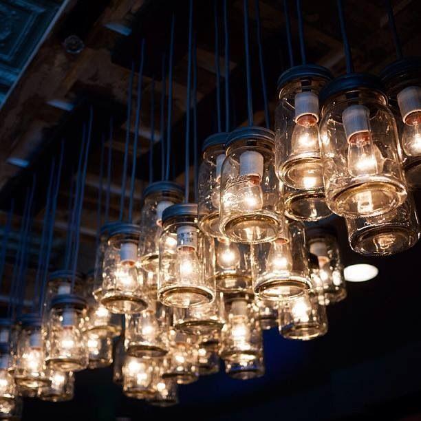 Pottery Barn Mason Jar Chandelier: Edison Vintage Bulbs!