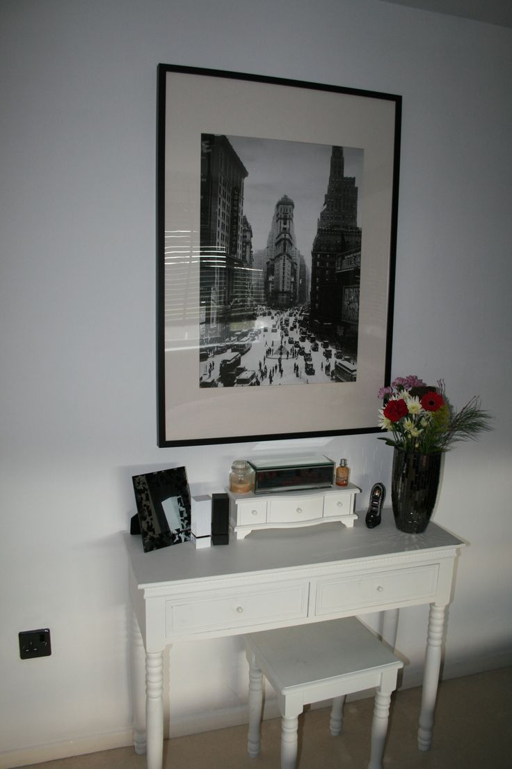 Small White Console Table Dresser Against White