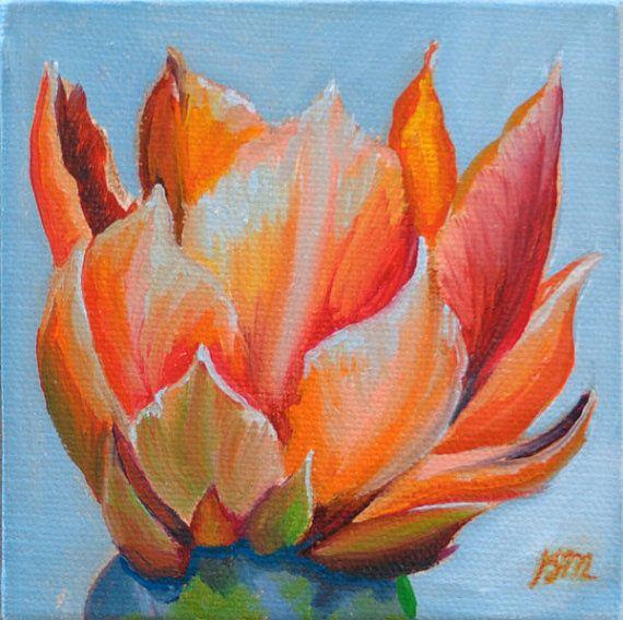 Cactus Flower Study II   4x4 original oil by GretchenMattaStudio, $50.00