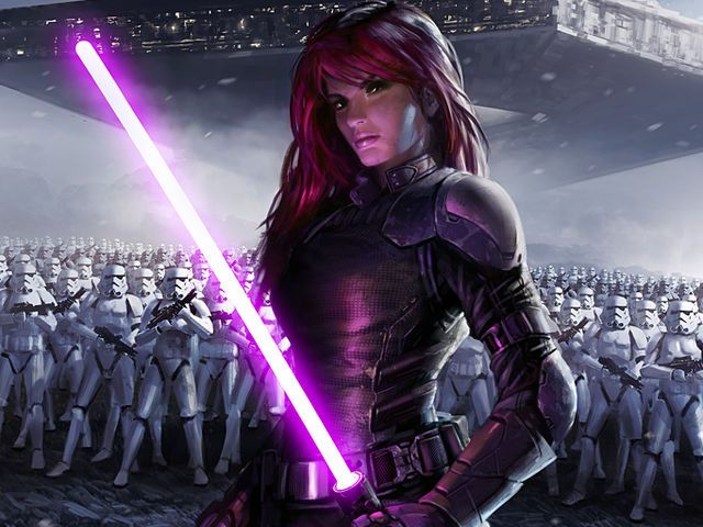 Purple    You are not a Jedi or a Sith but you can still be either one. People with purple lightsabers use the lightside and the darkside and balance between them.