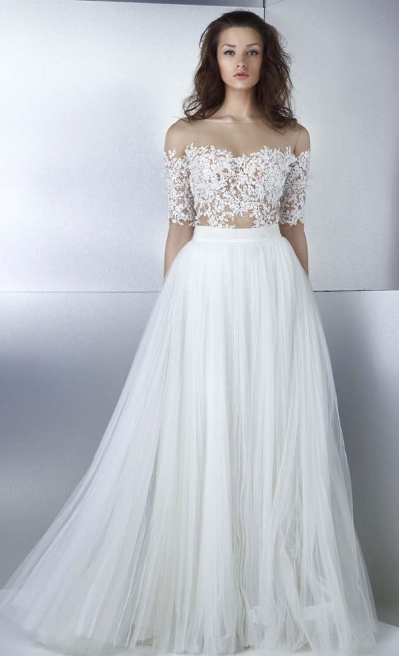 Featured Dress: Gemy Maalouf; Wedding dress idea.