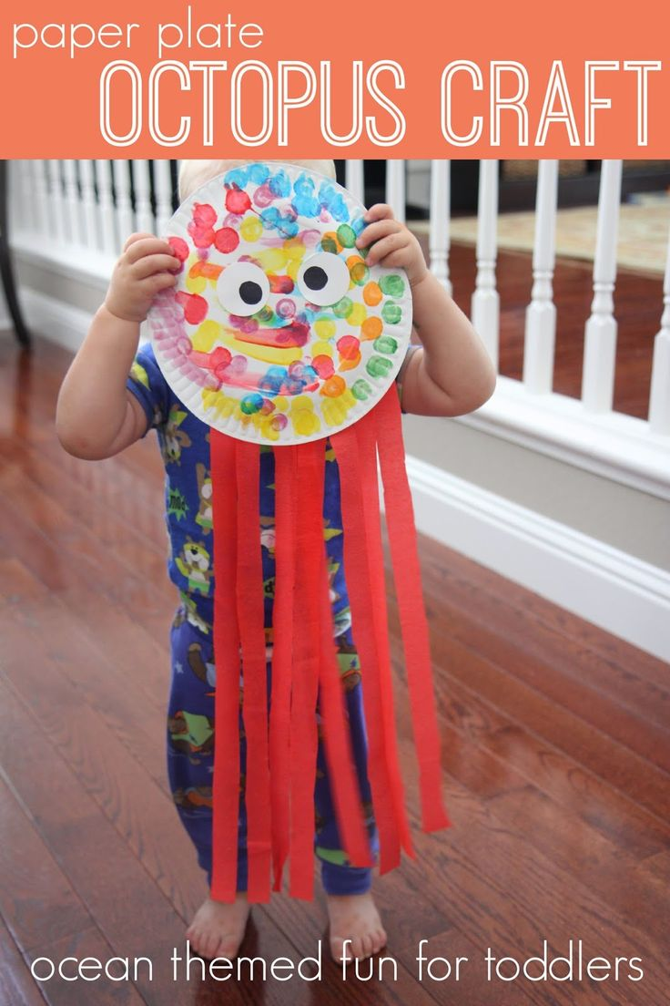"""Toddler Approved!: Paper Plate Crafts f you want to try this with younger kids you may want to do some of the gluing yourself and just have them paint the paper plate. You could also have them finger paint the paper if you don't want to use markers or dot markers.  If you want to keep this creation alive, definitely display it up high since these streamer legs are super fun to rip off! Or just let your child """"love"""" their octopus until it is destroyed. :)"""