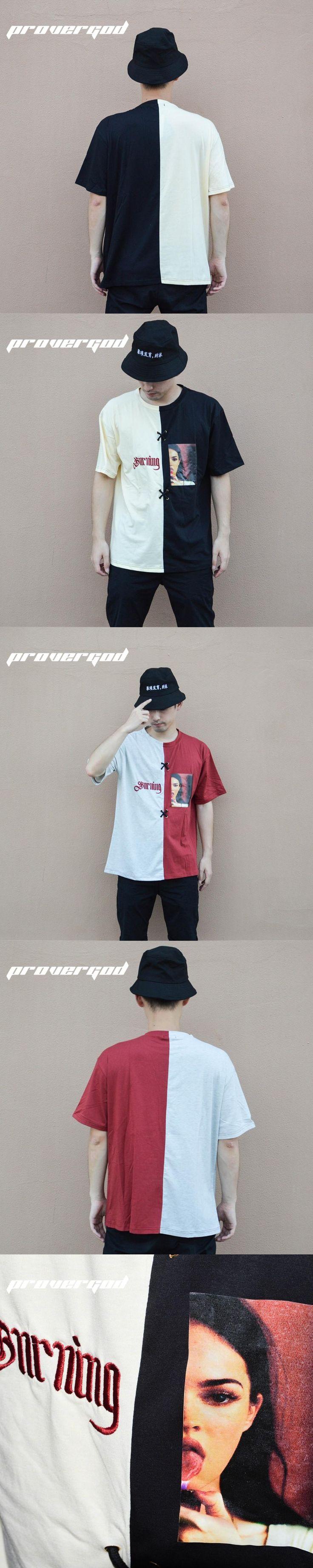 PROVERGOD Fashion Patchwork T Shirt Men Contrast Color Tape Design T-shirt Hip Hop Skateboards Clothing Oversize