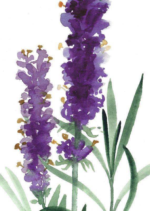 Kunstdruck Lavendel Kräuter grüne Küche Dekor von ColorWatercolor