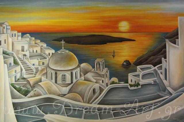 Dream-Art.gr: Ηλιοβασίλεμα στη Σαντορίνη! Ζωγραφική σε καμβά 1,5...
