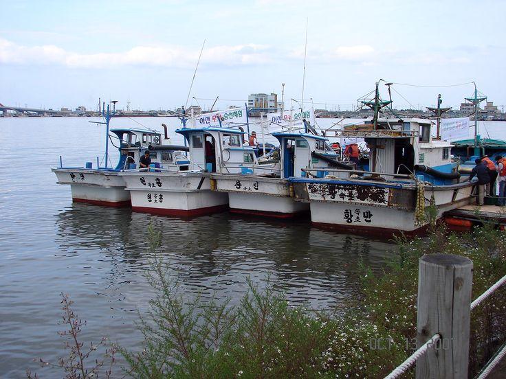 Barcos de pesca de frutos do mar atracados no Lago Cheongchoho em Sokcho, província de Gangwon-do, Coréia do Sul.  Fotografia: Steve46814.