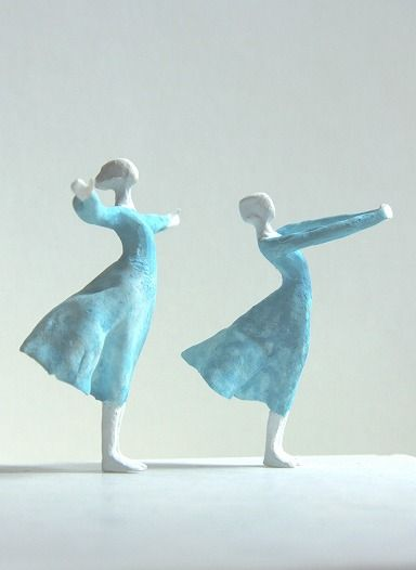 Tanaka Kazuhiko's mini sculpture  Wind Dance: clay stone powder, tinted watercolor or acrylic