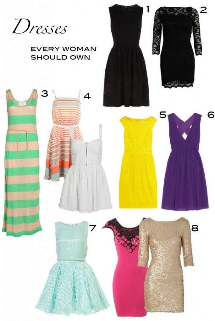 "Dresses Every Woman Should Own: 1) Conservative, semi-formal black dress  2) Cocktail-style LBD  3) Comfortable maxi dress  4) At least two casual sundresses  5) Dress you could wear to a summer wedding   6 & 7) At least two dresses (that aren't black!) that you could wear to a winter wedding, holiday or cocktail party   8) Two ""Vegas dresses""/ party dresses/ New Years dresses"