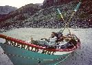 """dory Emerald Mile  - 1983 Colorado River High - from the OUTSIDE magazine article excerpted from Kevin Fedarko's book - Kenton Grua, Rudi Petschek, and Steve """"Wren"""" Reynolds."""