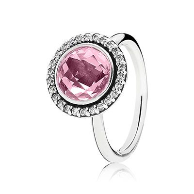 The single large pink stone and the surrounding halo of sparkling stones provide the cocktail ring with a classic and lavish look. $115 #PANDORA #PANDORAring #MothersDay