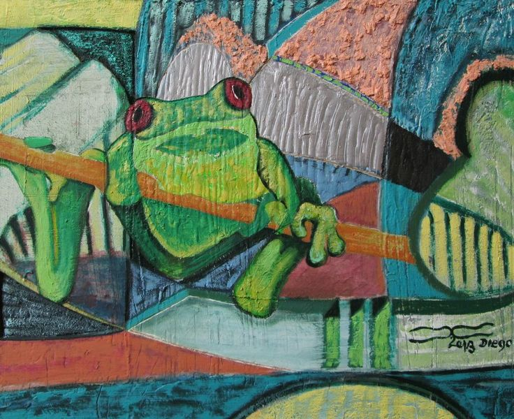 frog green abstract oil painting frogen signed artwork ...