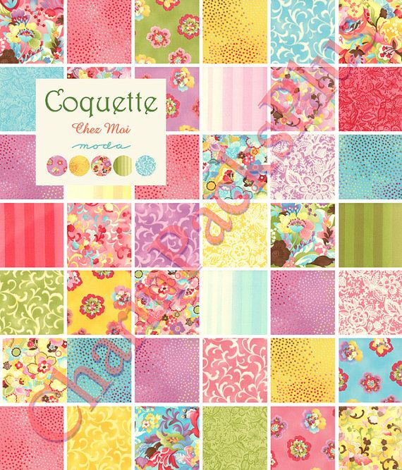 COQUETTE by Chez Moi - Moda Fabric Charm Pack - Five Inch Quilt ... : material quilting - Adamdwight.com