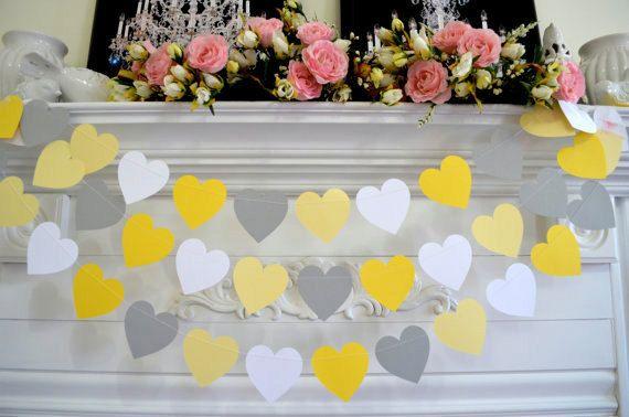 Grey yellow paper heart garland, bridal shower decor, wedding garland, wedding decor, baby shower gray, white hearts, wedding photo prop