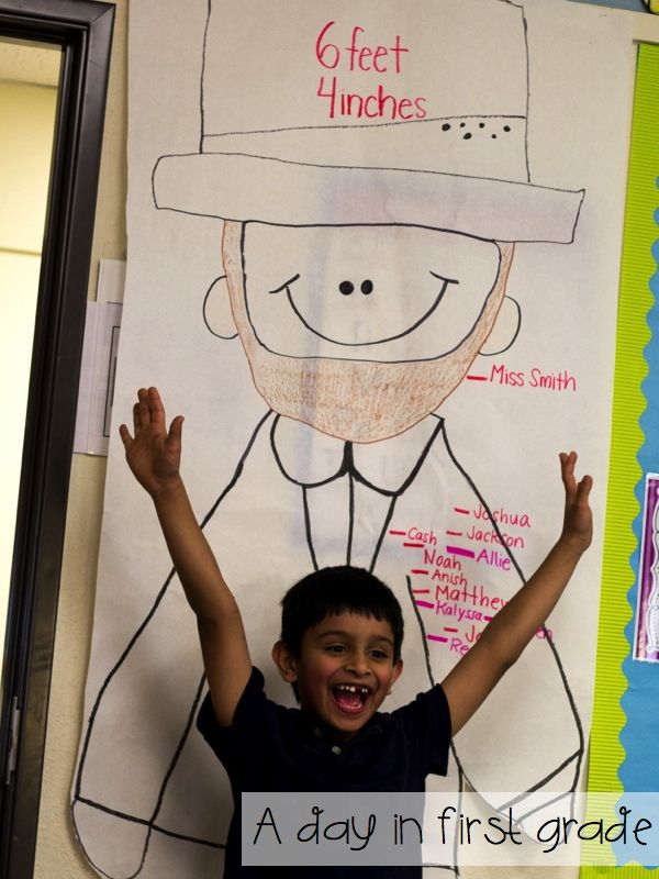 Super fun lesson-- comparing how tall you are to Abraham Lincoln!