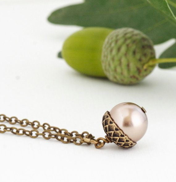 Pearl Acorn Necklace, Fall Jewelry, Champagne Pearls, Oak Tree, Pearl Necklace, Nature Lover on Etsy, $24.45 CAD